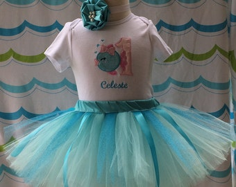 Baby Fish 1st Birthday Girl Outfit, Baby Fish Girls 1st Birthday Outfits, Pink and Blue Birthday Outfit,One Year Old 1st Birthday Outfits