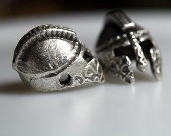 roman helmet 4 pcs  silver plated 2 hole Pendant  12 mm findings spacer bead bab2 882