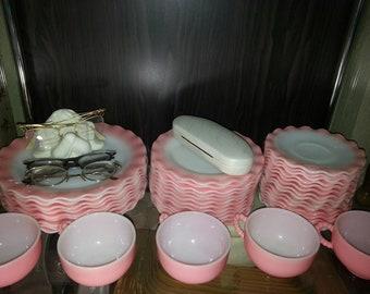 VHTF 1950s Hazel Atlas Pink Ripple Crinoline Dinner Set (41 Pieces)