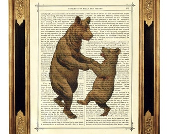 Dancing Bears Mother's Day Art Print Mother Bear Child - Vintage Victorian Book Page Art Print Steampunk