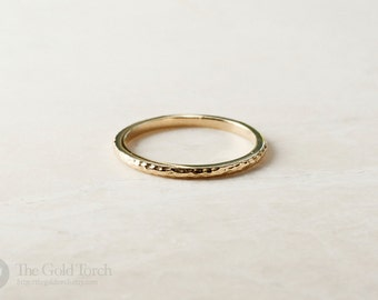 Wedding Ring, Gold or Platinum 1.6mm Hammered Stackable Ring