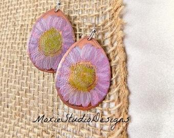 Pink Flower Earrings, Copper Earrings,  Summer Earrings, Pink Earrings, Bohemian Earrings, Boho Earrings, Etched Copper Earrings