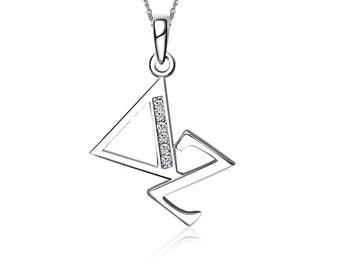 Delta Zeta Lavalier - Diagonal Design Sterling Silver (DZ-P002)