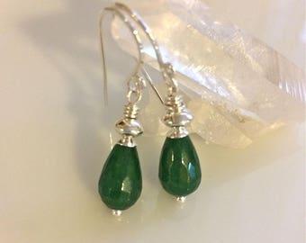 Green Jade Earrings   Green Stone Earrings   Sterling Silver Earrings