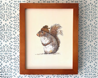 Squirrel with an Acorn Hat, 8x10 art print Animal Art Watercolor Painting, illustration, home decor, Nursery, wall art