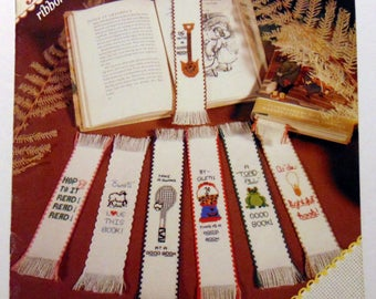 "Counted cross stitch booklet ""Bookmark Collection 1"" Gumball,  tennis, ice cream, pig 1983"