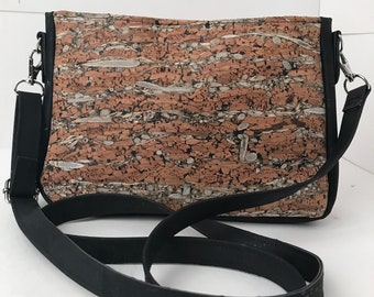 Cork Bag/Crossbody Bag/Purse/Pouch with Adjustable Strap- Brown/Fennel Cork with Black Cork