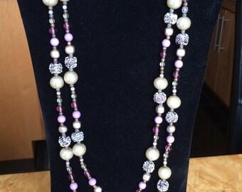 Elegant Necklace, extra long, purple toned beads