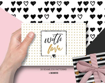 WITH LOVE- 20 seamless patterns- instant download