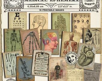 Medical Art Printable Cards Vintage APOTHECARY labels Medical ephemera digital download Scrapbooking Papercraft Printables Supply 228