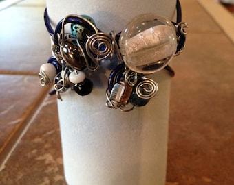 Cool Blue Silver Adjustable Bracelet
