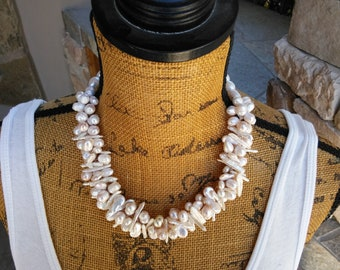 Pearl Multi-strand Necklace, Freshwater Pearl Woven Statement Necklace,  Unique Bridal Statement Necklace, Wedding Pearl Bib, Gift for Her