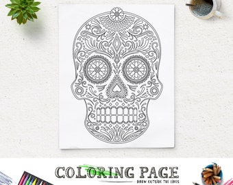halloween party coloring page printable tribal skull party coloring pages instant download digital art holiday art - Zen Coloring Pages