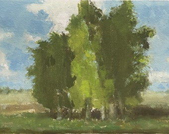 Landscape with a group of trees, blue sky with clouds
