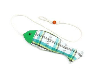 Organic Catnip Stuffed Fish Toy - Green Plaids