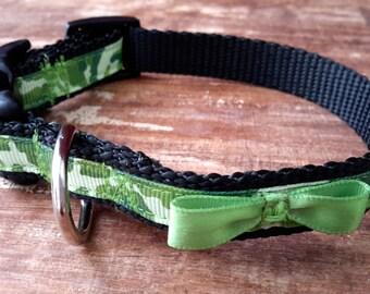 Cute bow Dog Collar, camouflage dog collar, Extra Small Dog Collar, dog collar for boy, toy dog collar, XS Dog Collar, cute boy dog collar