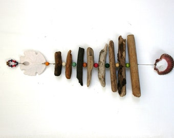 Driftwood, Shell, Bead Mobile, Beach Mobile, Beach Home Decor with Wooden Beads (Made to Order) peacelovedriftwood