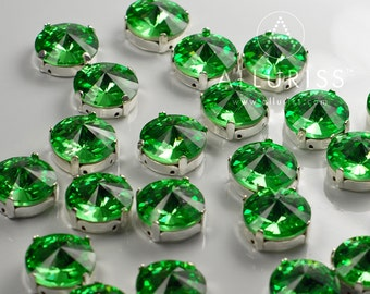 28pcs Peridot Green Crystal, 12mm Round Rivoli, Fancy Stone & Setting