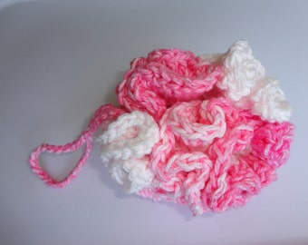 Bath Scrubbie - Bath Loofa - Crochet Loofa - Shower Accessory - Bath & Beauty - Crochet Shower - Crochet Bath - Pink and White- Spa- Organic