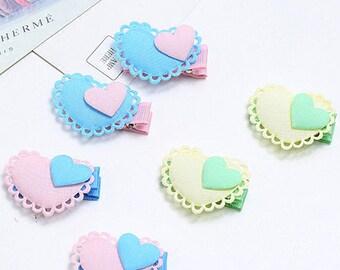 2 pcs Cute Fabric Heart Hair Clip Kids and Baby Hair Accessories