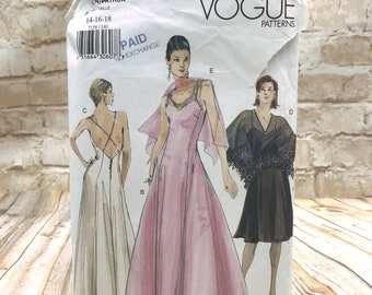 Vogue 7158 Womens Formal Fitted Flared Dress Knee or Evening Length and Pullover Cape Size 14 16 18 Uncut Sewing Pattern