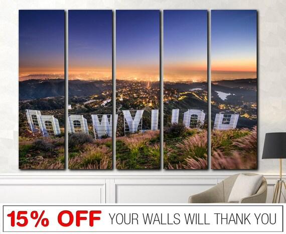 Hollywood Sign Cityscape wall art Hollywood wall art