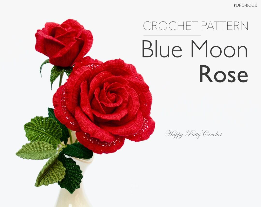 Crochet Rose Pattern Crochet Flower Pattern Large Blue