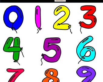 Balloon Numbers Clip Art - Balloon Numbers - Balloon Party Celebration - Balloon Numbers Clipart