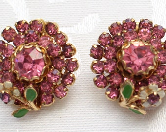 COE # 128 Vintage Gold Tone Pink Crystal Rhinestone Cluster Earrings Flower Enamel Leaf White Green Phenomenal