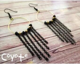 Gipsy, black & gold earrings, pendant earrings, black and gold