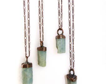 Aquamarine Necklace - Stone Necklace - Crystal Necklace - Copper Stone Necklace - Electroformed Necklace - Aquamarine Jewelry