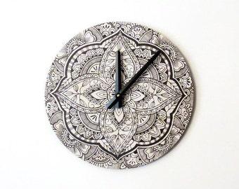 Wall Clock, Mandala Wall Decor, Black Mandala Clock, Eco Home Decor,