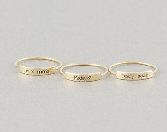 Personalized Name Rings, Custom Name Ring, Roman Numeral Ring, Name Bar Ring, Stacking Ring in Silver and Gold Filled (HCR OL 15.3)in BLK