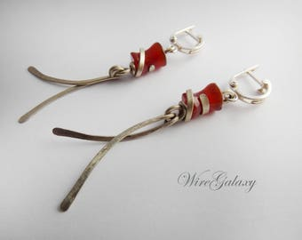 Earrings Carnelian Red Wire wrap Everyday earrings Art Deco Gemstone jewelry Positive Energy Wire Wrapped Chandelier earrings for Women