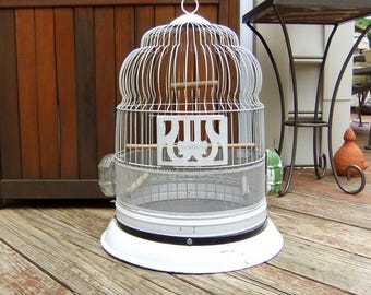 Large, 18 x 14 inch, Vintage Hendryx Metal Wire Bird Cage Birdcage, original Feeder and Water, White Green, Wedding Decor, Rustic Farmhouse