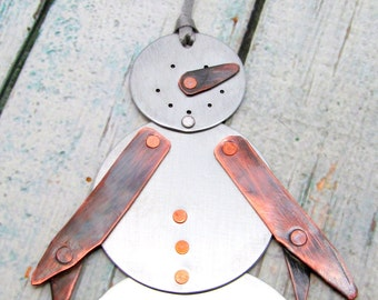 Personalized Ornament - Mixed Metal Snowman Ornament - Personalized Family Ornament - Hand Stamped Holiday Ornament - Snowman (400)