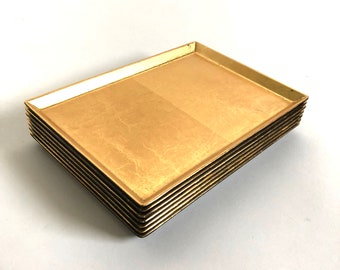 Vintage Japanese Gilded Gold & Lacquer Trays - Set of 7