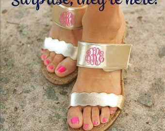 Gold Wedge Sandals, Monogrammed Sandals, Gold Monogrammed Sandals