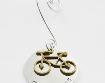 Bike Ornament, Bicyclist Ornament, Ride On Ornament, Cyclist Ornament, Cyclist Gift, Bike Gift, Christmas Ornament, Hand-stamped ornament