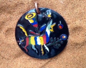 "Fantasy animal mexican ""embroidery"" multicolor large copper enamel pendant"