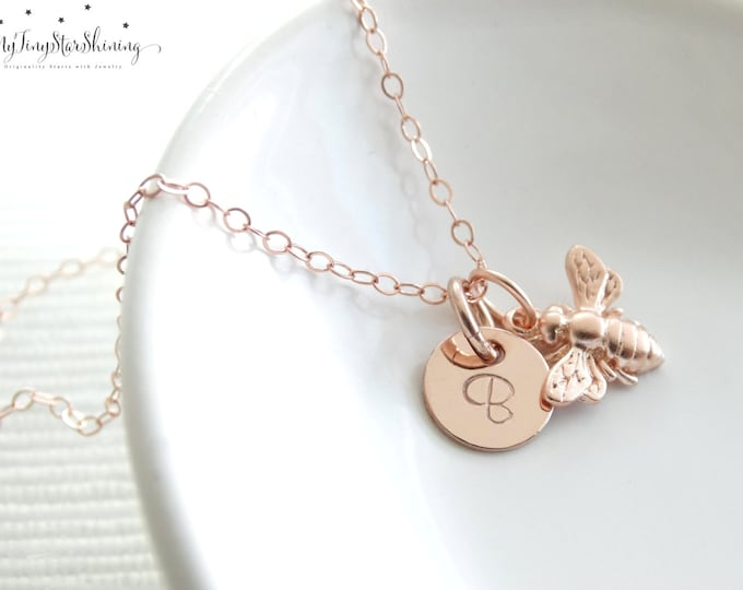 Featured listing image: Rose Gold Bee Necklace Bumble Bee, Honeybee, Rose Gold Bee Bee Jewelry Personalized Necklace  Hand Stamped  Initial Charm Dainty Necklace