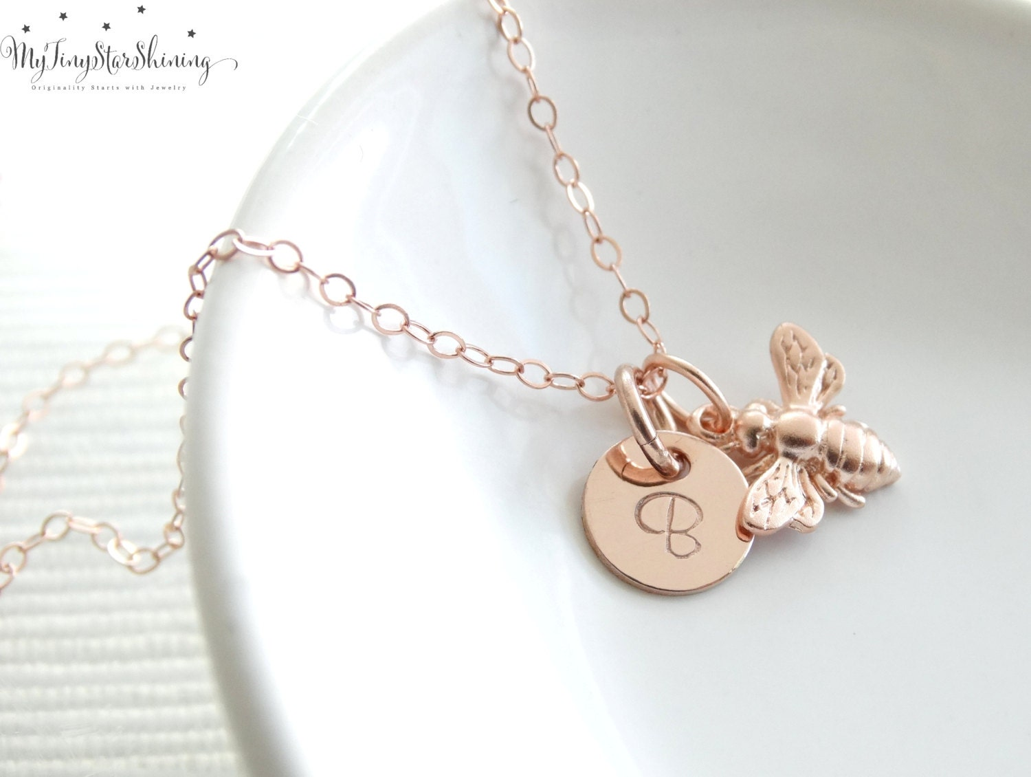 Rose Gold Bee Necklace Rose Gold Necklace Tiny Bee Necklace Rose
