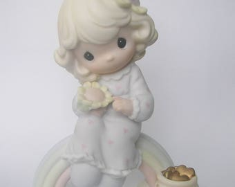 Precious Moments Dreams Really Do Come True Figurine - Enesco Vintage Collectible Original Box - 1994 - Girl on Rainbow - Pot of Gold