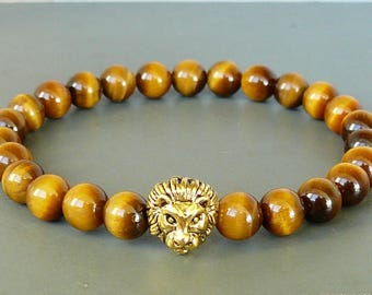 Lion Bracelet for Mens Tiger Eye Bracelet Gemstone Bracelet Lion Beaded Bracelet Stretch Bracelet Lion Head Bracelet for women lion bracelet