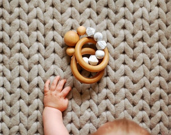 Wood Teething Ring, Baby Teether Ring, Silicon Bead Baby Teething Toy, Organic Wood Teething Ring, Teether Toy, Baby Boy Gift