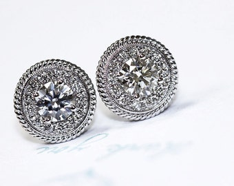 14k Round Diamond Halo Stud Earrings, Halo Round Diamond Studs Diamonds 1.35 ct Total Weight Push Backings