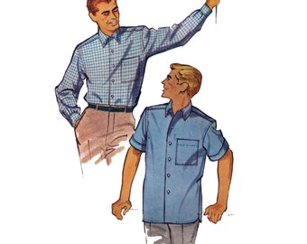 McCall's 4866, 50s sewing pattern, size medium 15-15 1/2 men's dress shirt pattern, button down shirt
