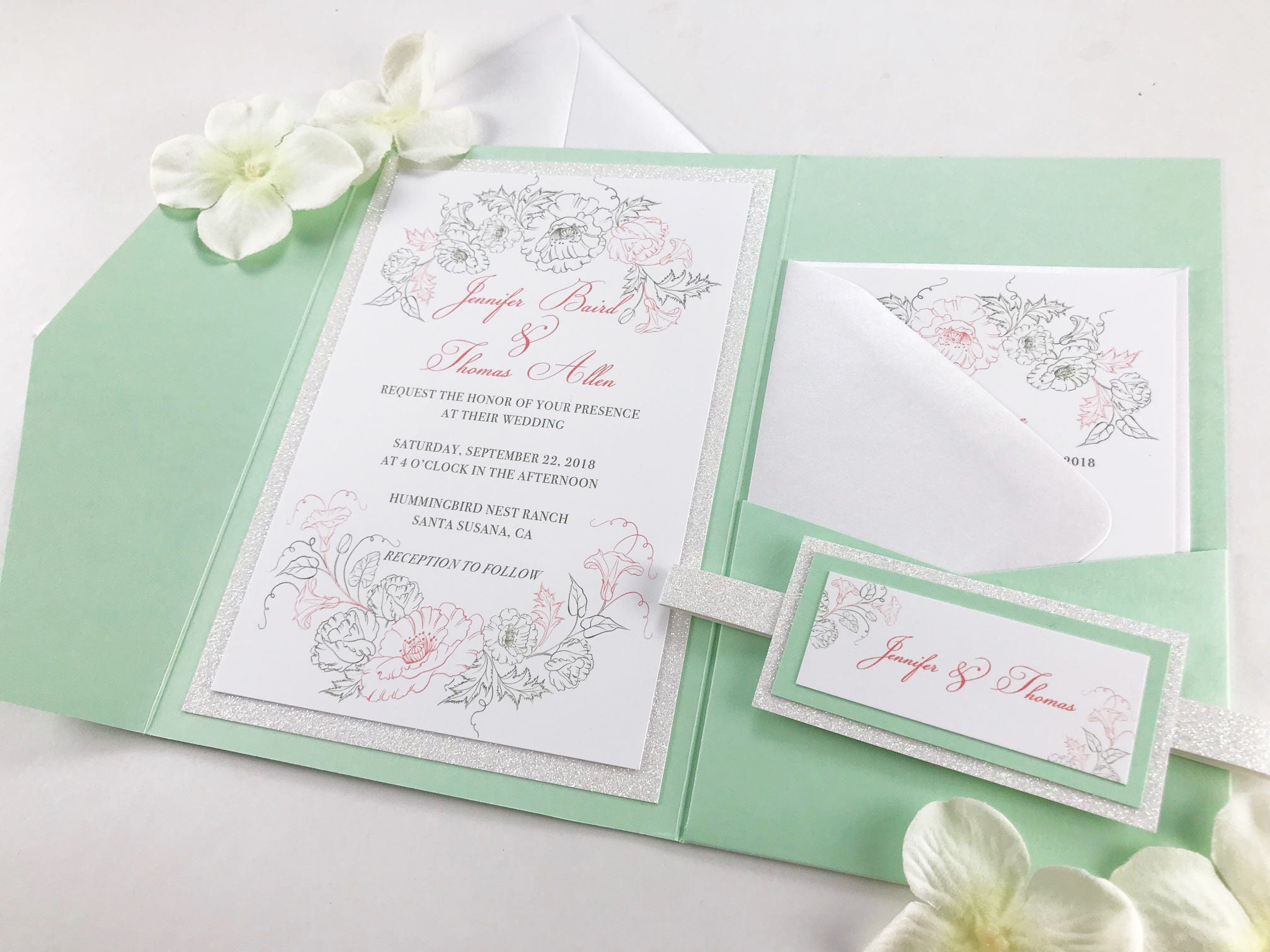 Rustic Wedding Invitations with Floral Outline border Light