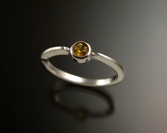 Golden Sapphire 3.5mm round stone ring 14k white Gold and natural Canary Diamond substitute stacking ring Made to order in your size