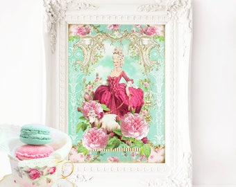 Marie Antoinette with sheep, Rococo, romantic vintage French art print, A4 giclee